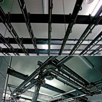 Трубчатые подвесные пути для транспортировки туш
