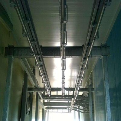 Трубчатые подвесные пути смонтированы на швеллере