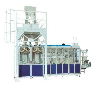 Линия автомат для упаковки минеральных удобрений в мешки плетенка с открытым верхом