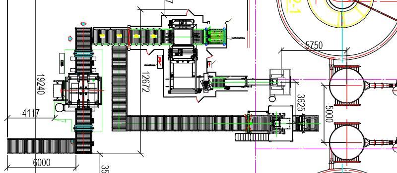 Конвейерные системы в цехе упаковки цемента