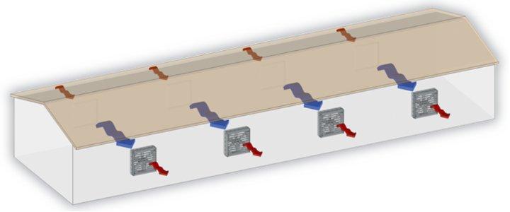 Схема поперечной вентиляции свинофермы