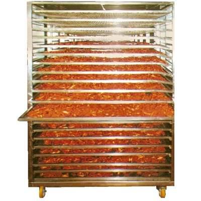 Сушильная камера для овощей и фруктов на лотках 500 кг в час