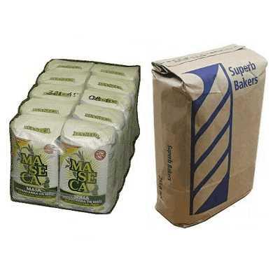 Групповая упаковка пакетов с мукой в пленку