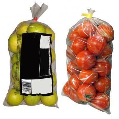 Упаковка овощей и фруктов в пакеты под скотч